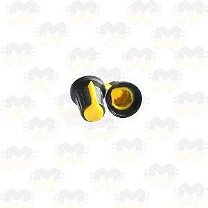 Knob Amarelo para Eixo 6mm Estriado