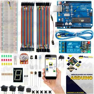 Mini Kit Arduino Uno R3 Básico Iniciante Start + Manual 2019 + Sensor Brinde