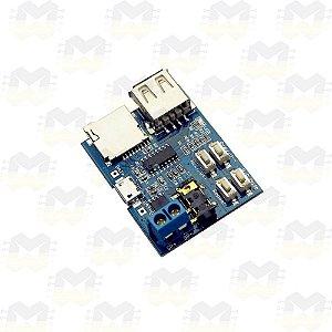 Módulo Decodificador e Amplificador de Áudio MP3 com Micro USB