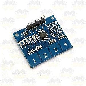 Teclado Capacitivo Touch (Toque) TTP224 com 4 Teclas