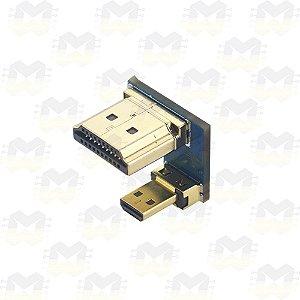 """Conector HDMI e Micro HDMI para Tela LCD de 3.5"""" ou 5"""" e Raspberry Pi 4"""