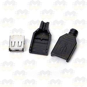 Conector USB Fêmea Tipo A de 4 Pinos com Capa