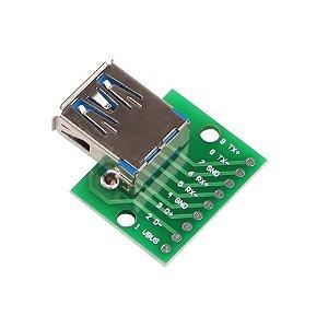 Adaptador Conector USB 3.0 Fêmea Tipo A para DIP 2.54mm