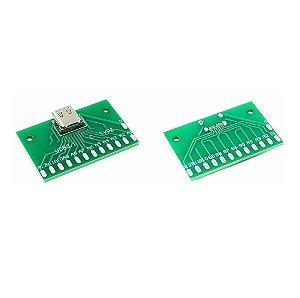 Adaptador Conector USB-C 3.1 Fêmea para Terminais de Contato