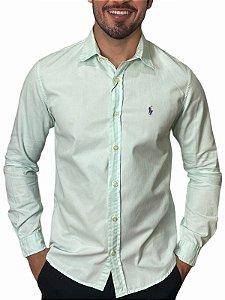 Camisa Ralph Lauren Sarja Tinturada Verde Água