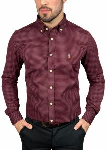Camisa Ralph Lauren Xadrez Bordô