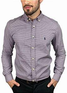 Camisa Ralph Lauren Micro-Xadrez Roxa