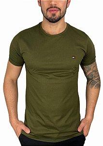 Camiseta Tommy Hilfiger Básica Verde Militar