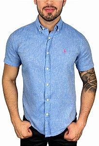 Camisa Ralph Lauren Linho Azul Oceano