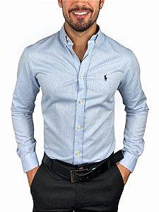 Camisa Ralph Lauren Oxford Mescla Azul Claro