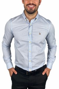 Camisa Ralph Lauren Micro-Xadrez Azul Claro