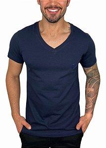 Camiseta VersatiOld Small Logo Gola V Azul Marinho