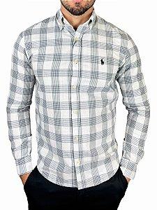 Camisa Ralph Lauren Linho Xadrez Branca