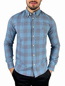 Camisa Ralph Lauren Linho Xadrez Azul