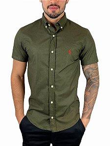 Camisa Ralph Lauren Oxford Verde Sálvia Manga Curta