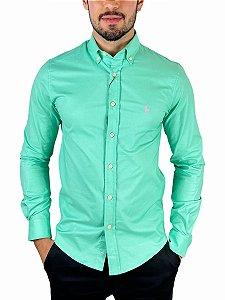 Camisa Ralph Lauren Oxford Verde Água