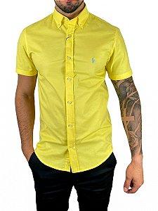 Camisa Ralph Lauren Oxford Amarela Manga Curta