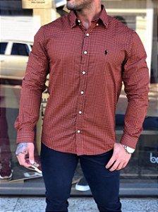 Camisa xadrez Laranja Ralph Lauren