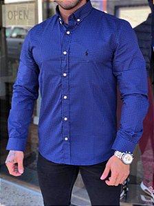 Camisa xadrez azul Ralph Lauren