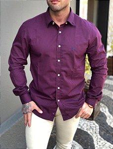 Camisa xadrez bordô Ralph Lauren