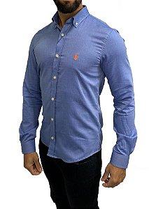 Camisa Ralph Lauren Azul com Bordado Laranja
