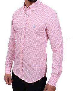 Camisa Ralph Lauren Xadrez Rosa Claro