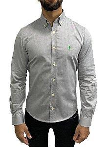 Camisa Ralph Lauren Cinza com Bordado Verde