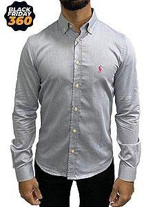 Camisa Ralph Lauren Azul Listrada Bordado Rosa