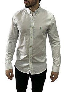 Camisa Ralph Lauren Branca Bordado Verde