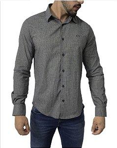 Camisa Social Armani Exchange Cinza