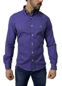 Camisa Social Ralph Lauren Micro Xadrez Roxo