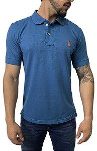 Camisa Polo Ralph Lauren Azul com Bordado Laranja