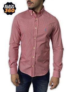Camisa Ralph Lauren Micro-Xadrez Vermelha