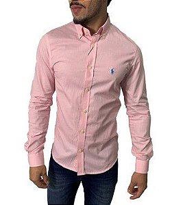 Camisa Ralph Lauren Micro-Xadrez Rosa Claro