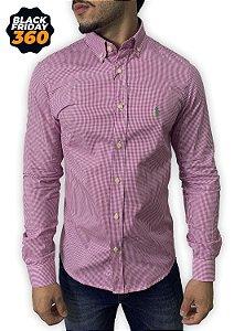 Camisa Ralph Lauren Micro-Xadrez Rosa Pink
