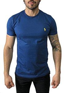 Camiseta Ralph Lauren Básica Azul com Bordado Amarelo