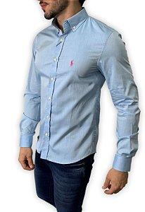 Camisa Ralph Lauren Azul com Bordado Rosa