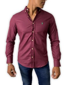 Camisa Ralph Lauren Oxford Bordô