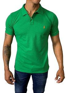 Camisa Polo Ralph Lauren Verde com Bordado Laranja