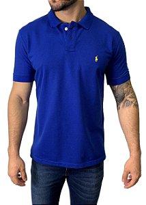 Camisa Polo Ralph Lauren Azul com Bordado Amarelo