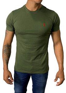 Camiseta Ralph Lauren Básica Verde Militar com Bordado Vermelho