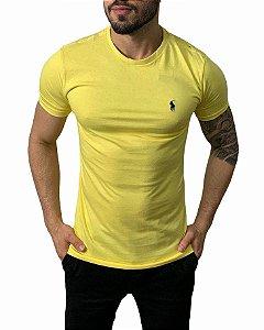 Camiseta Ralph Lauren Básica Amarela com Bordado Azul