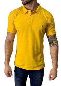 Camisa Polo Ralph Lauren Amarela com Bordado Azul