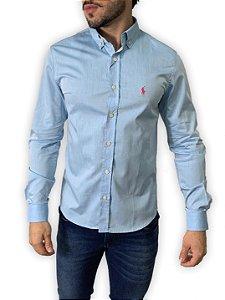 Camisa Ralph Lauren Azul Claro com Bordado Rosa