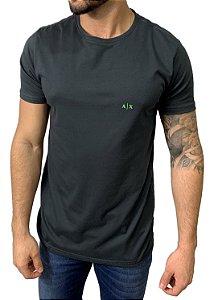 Camiseta Armani Exchange Chumbo com Bordado Neon Verde