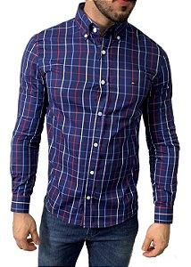 Camisa Tommy Hilfiger Xadrez Azul Marinho