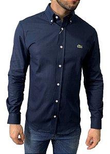 Camisa Lacoste Oxford Azul Marinho