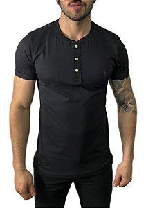 Camiseta Henley Ralph Lauren Preta