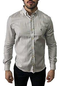 Camisa Ralph Lauren Xadrez Branca / Cinza
