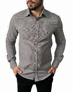 Camisa Ralph Lauren Micro-Xadrez Branca e Preta